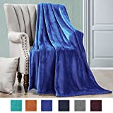 Luxe Manor 50x60 Inch Ultra Soft Flannel Fleece Throw Blanket Lightweight Decortive Fuzzy Plush Microfiber Warm Blanket for Sofas Couches Beds and Office, Royal Blue