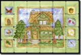 Cabin in the Woods - Summer by Sara Mullen - Lodge Art Tumbled Marble Tile Mural 16'' x 24'' Kitchen Shower Backsplash