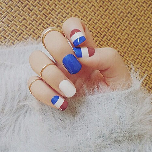 Meili Russia French Style 24Pcs Fake Nails Short Full Tips For Fingers Blue Wine Red Nail Art Decoration Oval Sculpt With Glue Sticker