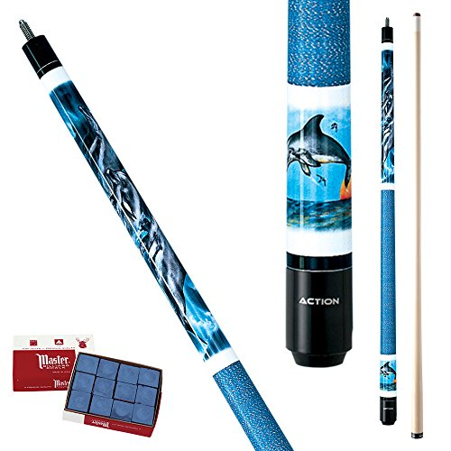 Action Adventure ADV59 Blue Dolphin Pool Cue Stick with 12 pieces of Master Billiard Chalk -