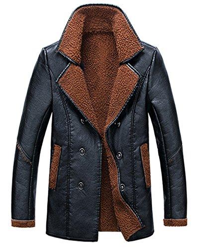 Ouye Men's Faux Leather Fleeced Winter Trench Coat Long Outwear Jacket Large
