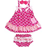 Jubileens 2 PCS Baby Toddlers Infant Girls Cotton Cute Dress+ Underpants Outfit Sets (S(0-6 months), Rose 3)