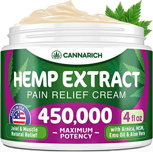 Hemp Cream – 250,000 Hemp Extract – Natural Formula with MSM, Aloe Vera, Emu Oil & Menthol – Made in USA – Perfect for…