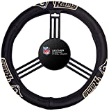 Fremont Die NFL Los Angeles Rams No Leather Steering Wheel Coverleather Steering Wheel Cover, Black, One Size