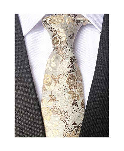 Mens Women Boys Champagne Ivory Necktie Small Novelty Floral Extra long Silk ()