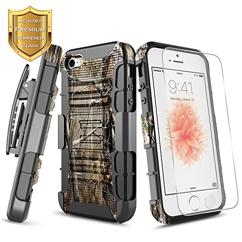 - iPhone 5 / 5S / SE Case with [Tempered Glass Screen Protector], NageBee [Heavy Duty] Shock Proof Dual Layer [Swivel Belt Clip] Holster [Kickstand] Combo Rugged Case for Apple iPhone 5/5S/SE -Camo