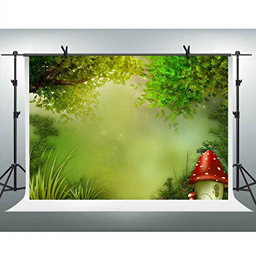 FH 7x5ft Green Forest Misty Backdrop Cute Mushroom House Fairy Tale Photography Background Themed Party YouTube Backdrop Photo Booth Studio Props (Fairy Tale Themed Halloween Party)