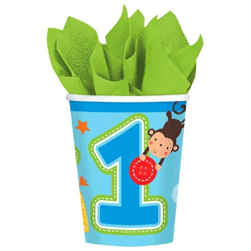 One Wild Boy Birthday Party Cups Tableware, Multi Colored, Paper, 9 Ounces, 8-Piece
