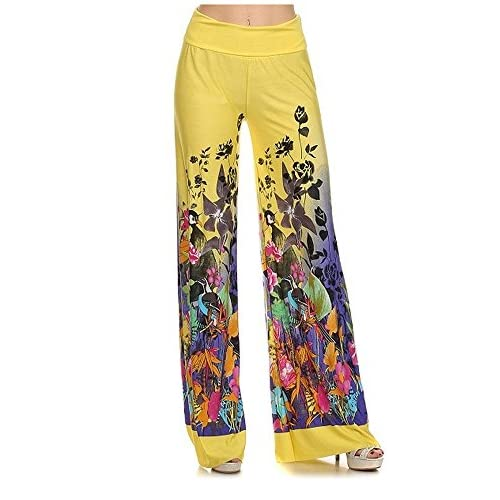 af15324e36 low-cost Enimay Designer Women's Palazzo Pants Stretch High Waist Printed  (12 Colors)
