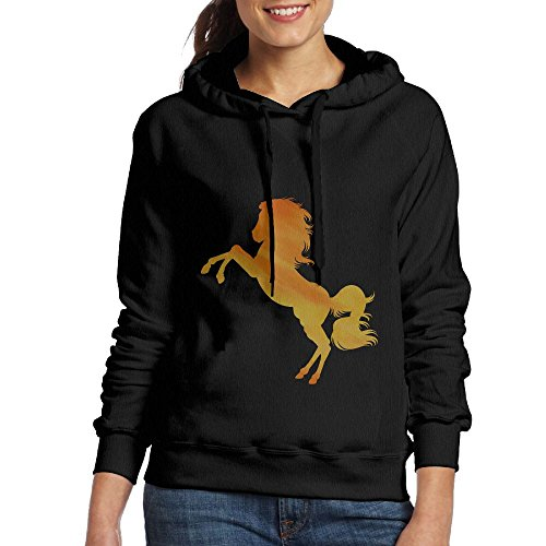 YinMedj Fire Horse Women's Custome Long Sleeve Pullover Hoodie Sweatshirt Tops Blouse Apparel For Women Teens And Girls