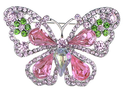 (Alilang Rose Pink Peridot Green Crystal Rhinestone Butterfly Fashion Pin Brooch)
