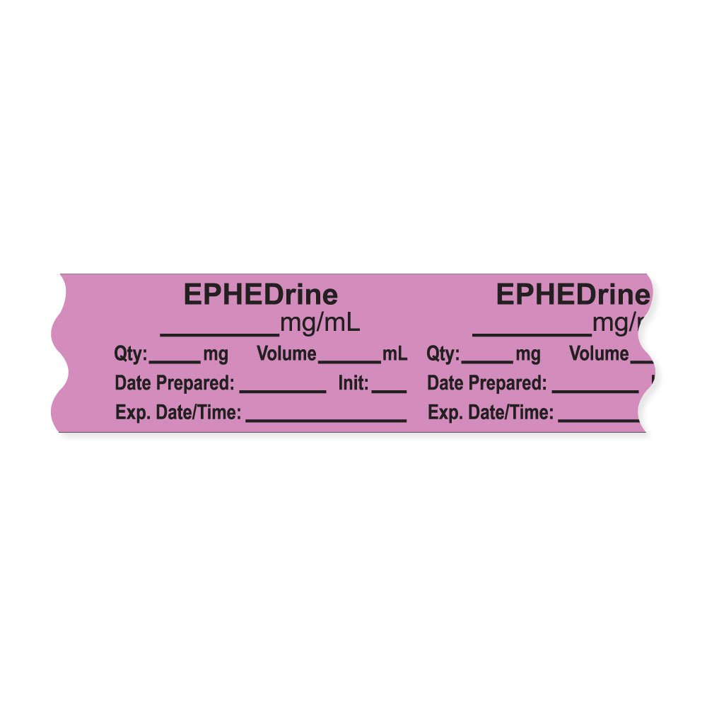 PDC Healthcare AN-2-5 Anesthesia Tape with Exp. Date, Time, and Initial, Removable, ''EPHEDrine mg/mL'', 1'' Core, 3/4'' x 500'', 333 Imprints, 500 Inches per Roll, Violet (Pack of 500)