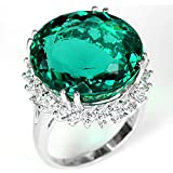 Fashion Women 925 Silver Dark Green Emerald Gemstone Wedding Ring Jewelry Sz6-10 (8)