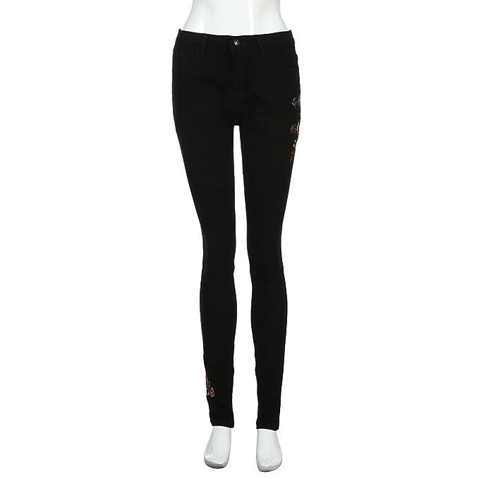 Amazon.com: iLUGU - Pantalones vaqueros para mujer de ...