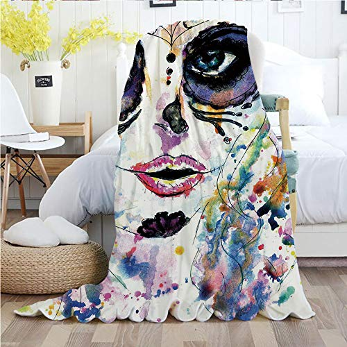 Sugar Skull Decor,Throw Blankets,Flannel Plush Velvety Super Soft Cozy Warm with/Halloween Girl with Sugar Skull Makeup Watercolor Painting Style Creepy Decorative/Printed Pattern(60