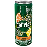 Perrier L'Orange Flavored Carbonated Mineral Water (Lemon Orange Flavor), 8.45 fl oz. Slim Cans (30 Count)