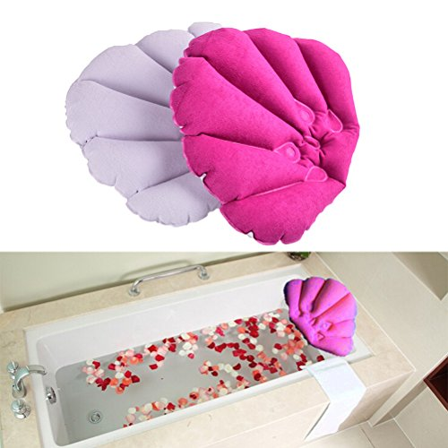 CosCosX Pack of 2 Inflatable Terry Cloth Bath Pillow with Suction Cups,Neck Support,Bathroom Spa Cushion,Head Back Pillow Mat Bathtub Relaxing,Assorted Colors by CoscosX (Image #1)