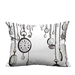 YouXianHome Home Decor Pillowcase Many Old Style Pocket Watch on Chain Clocks Chronometer Hours Antique Image Durable Polyester Fabric(Double-Sided Printing) 19.5x54 inch