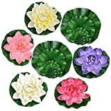 Legendog 13 Pcs Artificial Floating Lotus Flowers with Fake Lotus Leaves, Home Garden Pond Aquarium Wedding Decor