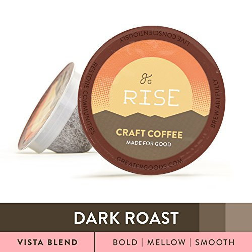 Specialty Grade Coffee For Keurig K-Cup Brewers: 72-Count Dark Roast Vista Blend. 1.0 and 2.0 Compatible. Premium Quality, Eco-Friendly 100% Arabica Single-Serve Coffee by Greater Goods (Coffee Roast Specialty)