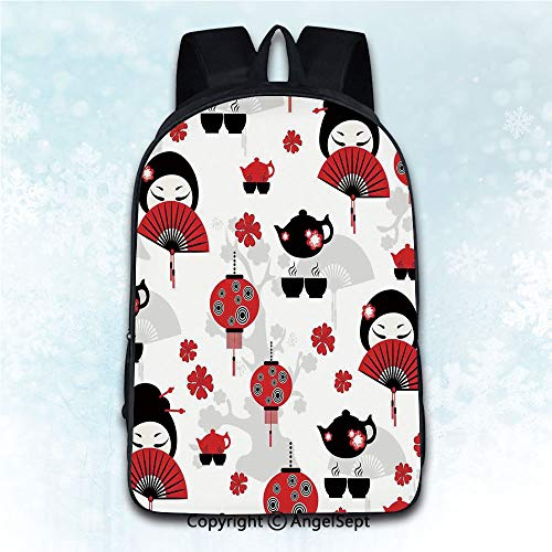 (Travel Rucksack Shoulder Bag Students,Lantern Geisha Japanese Fan Ancient Chinese Traditional Tea Pot Lanterns Floral Graphic Design Black Red 16 inches,Daily Carry Multi-Purpose Knapsack)