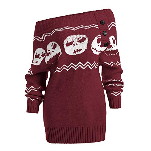 Fête Imprimé Longue Vacances Sweatershirt La Rouge Hiver Noël Élégant Tricot Épaules Sweater Pas A Pullover Dénudées Mode De Manche Femme Crâne Cher Décontractée Vin Electri Boton RwqBCv8