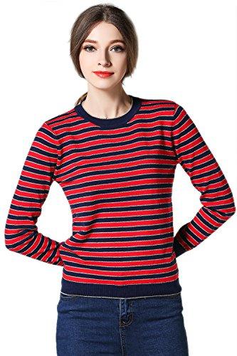 Suéter de rayas jersey Casual de manga larga de la mujer RedBlack