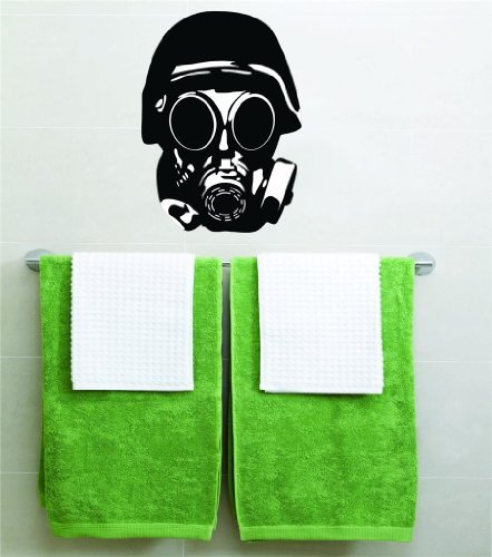 Gas Mask Biohazard Vinyl Wall Decal Peel & Stick Graphic Sticker Picture Art Home Halloween Party Decoration Kids Boy Girl Teen Dorm Room Children – 22 Colors Available Reduced Sale Price For Savings 20x14 ()