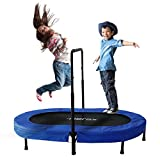 Merax Parent-Child Trampoline Twin Trampoline with Adjustable Handlebar (Blue Cover)