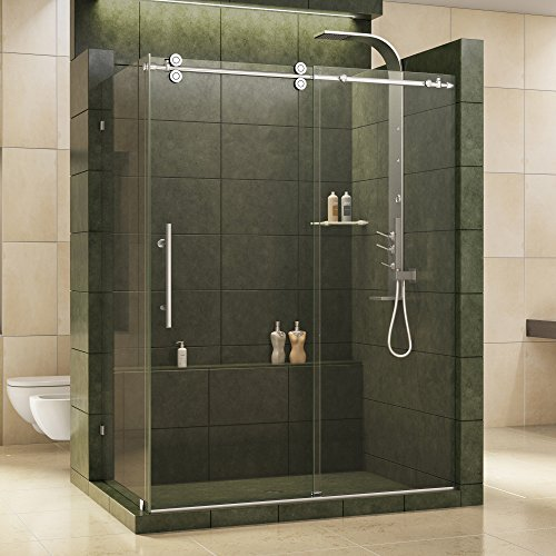 DreamLine Enigma 36 in. D x 60 1 2 in. W x 79 in. H Frameless Sliding Shower Enclosure in Polished Stainless Steel, 1 2 in. Glass, SHEN-60366012-08