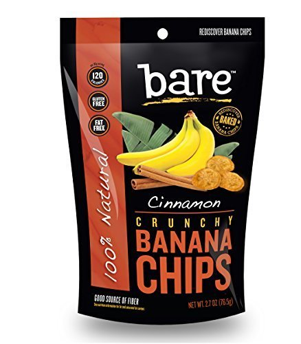 Bare Natural Banana Chips, Cinnamon, Gluten Free + Baked, 6 Count by Bare