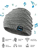 Bluetooth Beanie Hat Headphone, Unisex Outdoor Sport Wireless Musical Winter Knit Cap with Rechargeable Stereo Speaker Microphone Handsfree for Cell Phones, iPhone, iPad, Android, Laptops(Grey)