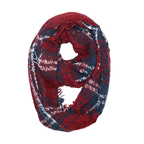Clearance Fheaven Women Girls Winter Warm Classic Plaid Infinity Scarf Ring Neck Warmer Wrap Collar Scarf (E)