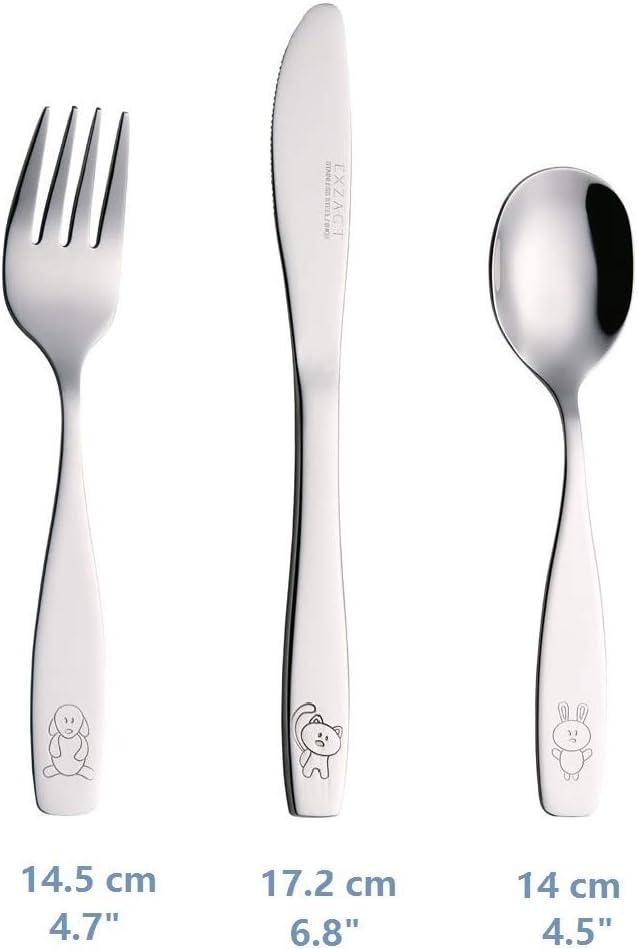 6 x Cuill/ères 6 x Couteaux Chien-Chat-Lapin Exzact Couverts enfant en inox 18 Pi/èces: 6 x Fourchettes