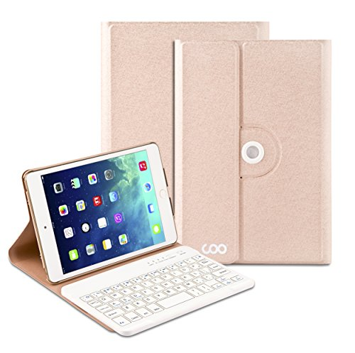 iPad Mini 4 Keyboard - COO iPad Mini 4 Case with Built­in Removable Bluetooth Keyboard for Apple iPad Mini 4 (Model A1538 A1550) with 360 Degree Rotation and Multi-Angle Stand (Champagne)
