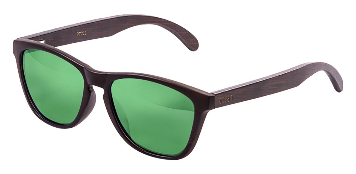 OCEAN SUNGLASSES Sea Lunettes de Soleil Mixte Adulte, Brown Frame/Wood Dark Arms/Revo Green Lens