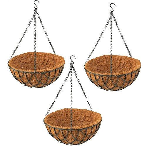 Rocky Mountain Goods Green Hanging Basket with Natural Coconut Liner  Thick coco liner hanging planter for less watering  Extra strength chain and hook included 3 12quot