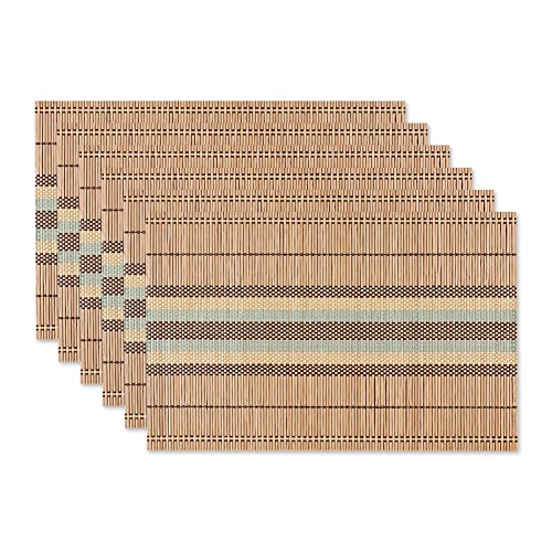 Homcomoda Bamboo Placemats with Handmade Non Skid Heat Insulation Place mats for Kitchen Table Set of ()