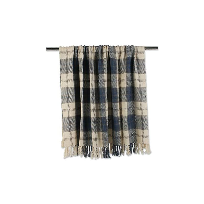 """DII Farmhouse Woven Throw, 50x60 with 3"""" Fringe, French Blue"""