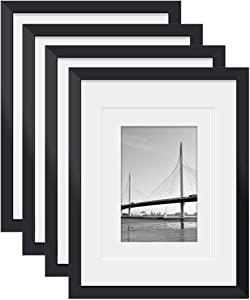 11x14 Picture Frames 4 PCS Black - Made of Solid Wood for Table Top and Wall Mounting for Pictures 8x10/5x7 with Mat or Horizontally or Vertically Display Photo Frame Black