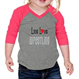 Live Love Wrestling Sport Infants 60/40 Cotton/Polyester Jersey Shirt - Gray Hot Pink, 24 Months