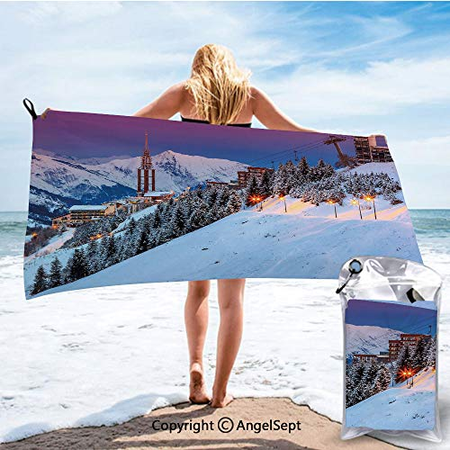 RWNHome Towel Quick Dry Soft Bath Towels,Majestic Winter Sunrise Landscape and Ski Resort Spruce Pine Forest French Alps Multicolor,31.5