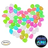 YoungRich 200 PCS Colorful Glowing Garden Pebbles Glow in the Dark Pebbles Landscaping Luminous Rocks Decorative Stones for Outdoor Walkway Driveway Fish Tank Aquarium Plants Garden