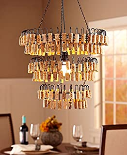 Wine bottle and wine glass chandelier pendent style amazon wine cork chandelier light lamp fixture aloadofball Images