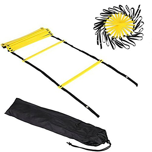 Agility Training Ladder for Athletes and Dancers - 12 Rungs, Adjustable Gaps, Practical Snap Closures, Free Carry Bag by Kerqi