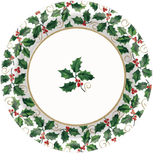 Amscan Seasonal Festive Christmas Holly Paper Plates | Party Tableware | 960 Ct.