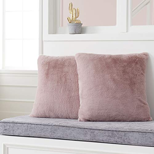 Foindtower Set of 2 Soft Rabbit Fur Square Decorative Throw Pillow Covers Cushion Case Warm New Luxury Series for Livingroom Couch Sofa Nursery Bed Kids Room Home Decor 18x18 Inch (45x45cm) Dusty Pink