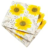 20 LUXURY 3 PLY YELLOW PATTERN SUNFLOWER PAPER NAPKINS- 33cm x 33cm Ideal for weddings, christenings, parties, bbq's etc FREE DELIVERY