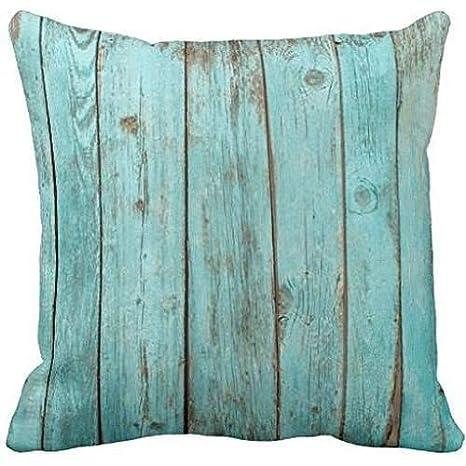 Pillow Cover Funda de cojín Deco de Madera Turquesa de Color Verde Azulado para sofá, Funda de cojín, Fundas de Almohada, Ropa de Cama y Almohada, ...