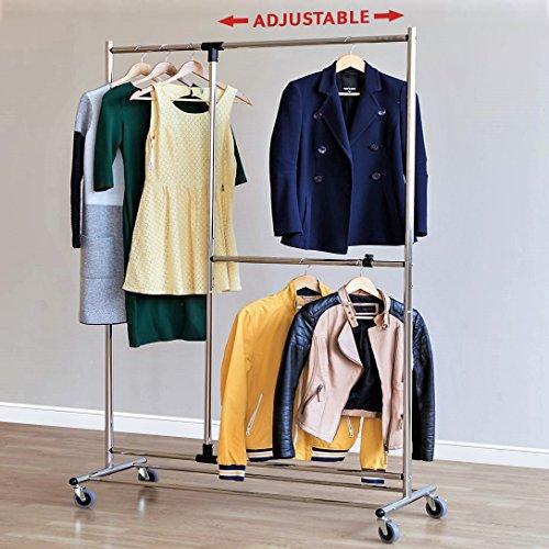 Tatkraft Marvel Clothes Rack on Wheels with Additional Adjustable Hanging Rail Chrome Steel (Heavy Duty Mobile Garment Rack)